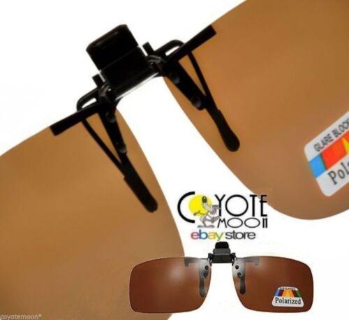 Rectangular Polarised Large Brown Clip On Sunglasses flip up UK Seller
