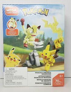 Mega Construx Pokemon Pikachu & Meowth Showdown New 70 Pcs  FVK78