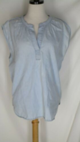 Madewell Faded Blue Chambray Sleeveless Blouse Shi