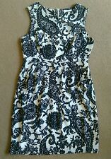 SEXY DARLING LONDON BLACK WHITE PAISLEY FLORAL SHORT SLEEVELESS DRESS SIZE 12 GC
