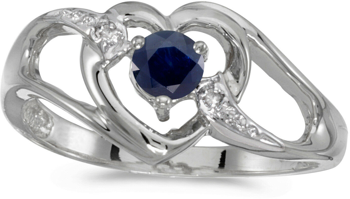 10k White gold Round Sapphire And Diamond Heart Ring (CM-RM1336W-09)