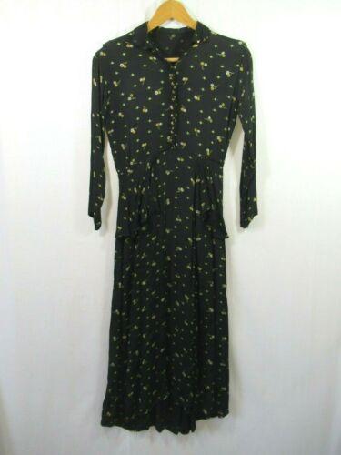 Antique Edwardian 1910s Silk Dress Black With Dais