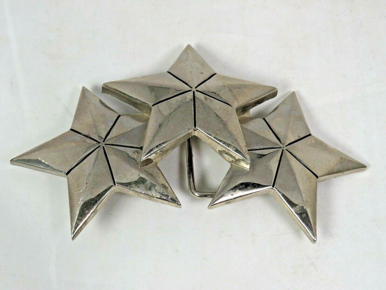 Tristar Silver Tone 3 Stars Belt Buckle By Rock Rebel Cowboy - A9