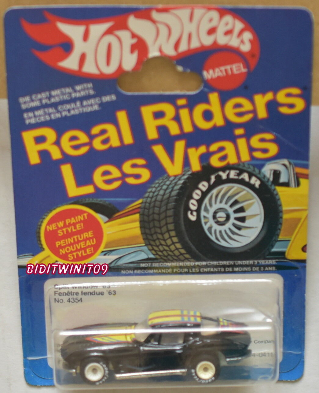 HOT WHEELS 1983 SPLIT WINDOW '63 REAL RIDERS W  WHITE HUBS INTL CARD W+