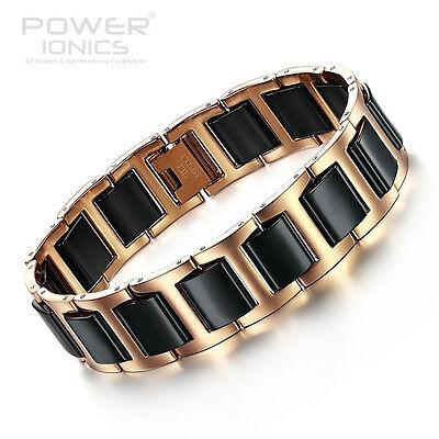 Power Ionics Healthy Men Golden Black Bio Ceramic Wide Band Bracelet PT050