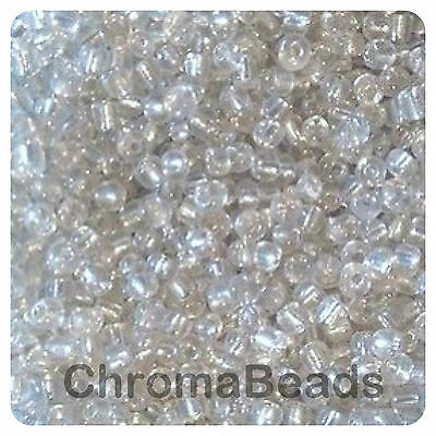 choose size 6//0 8//0 or 11//0 100g SILVER METALLIC glass seed beads 4, 3, 2mm