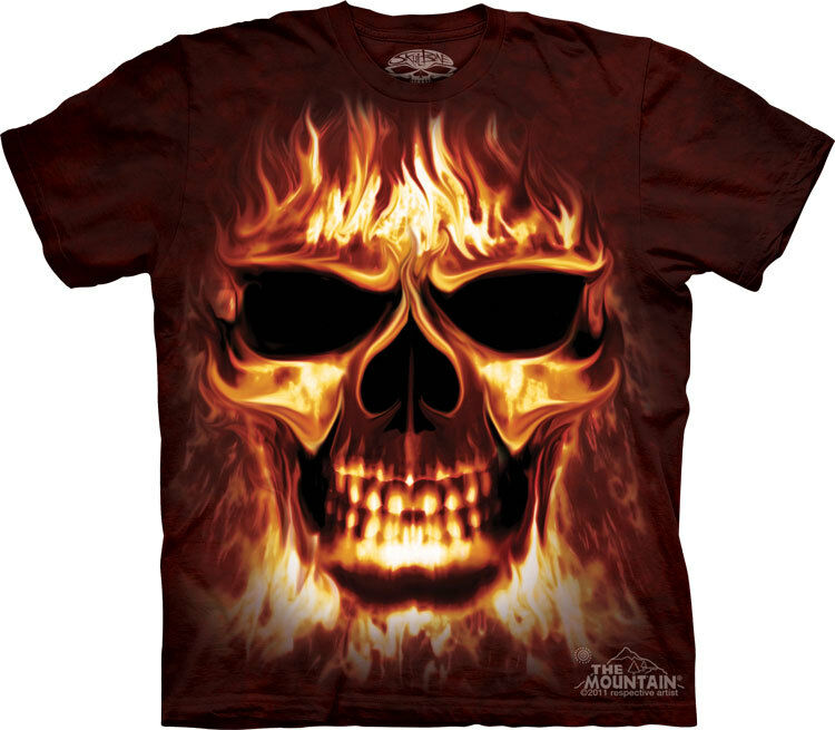 NEW SKUL FIRE SKULFIRE Flaming Skull Flames by The Mountain T Shirt
