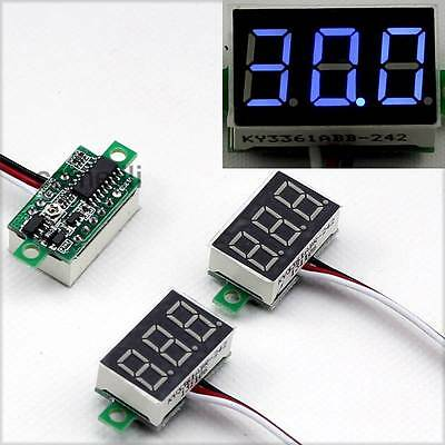 3PCS Blue Mini DC 0-30V LED 3-Digital Display Voltage Voltmeter Panel Motorcycle