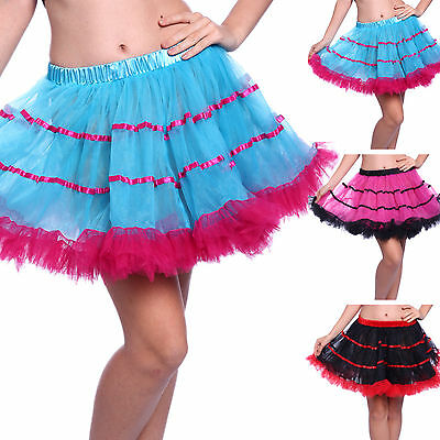 Vintage Retro Layered Tiered Striped Tulle Petticoats Tutu Skirts Fancy Dress