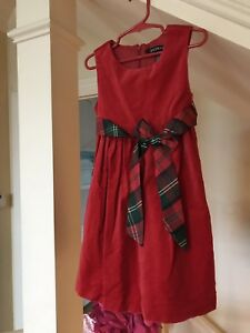 a8b2ffe161f George Girls Dress Size 5 Red Velvet With Holiday Bow FREE SHIPPING ...