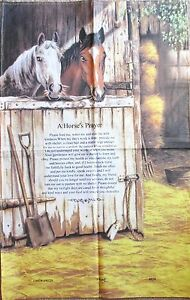 "Horse Tea Towel Linen Cotton Blend ""A Horse's Prayer"" by Lamont"