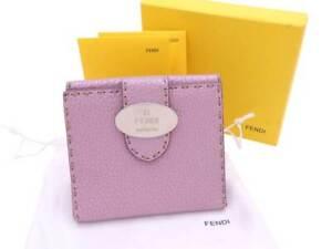 Auth-FENDI-Selleria-Bifold-Wallet-Metallic-Pink-Leather-Silvertone-e40553