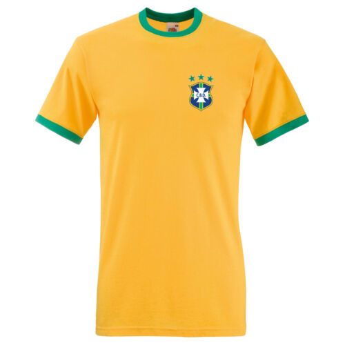 Brazil 1978 Retro World Cup Football Embroidered Effect Ringer T-Shirt to 3XL