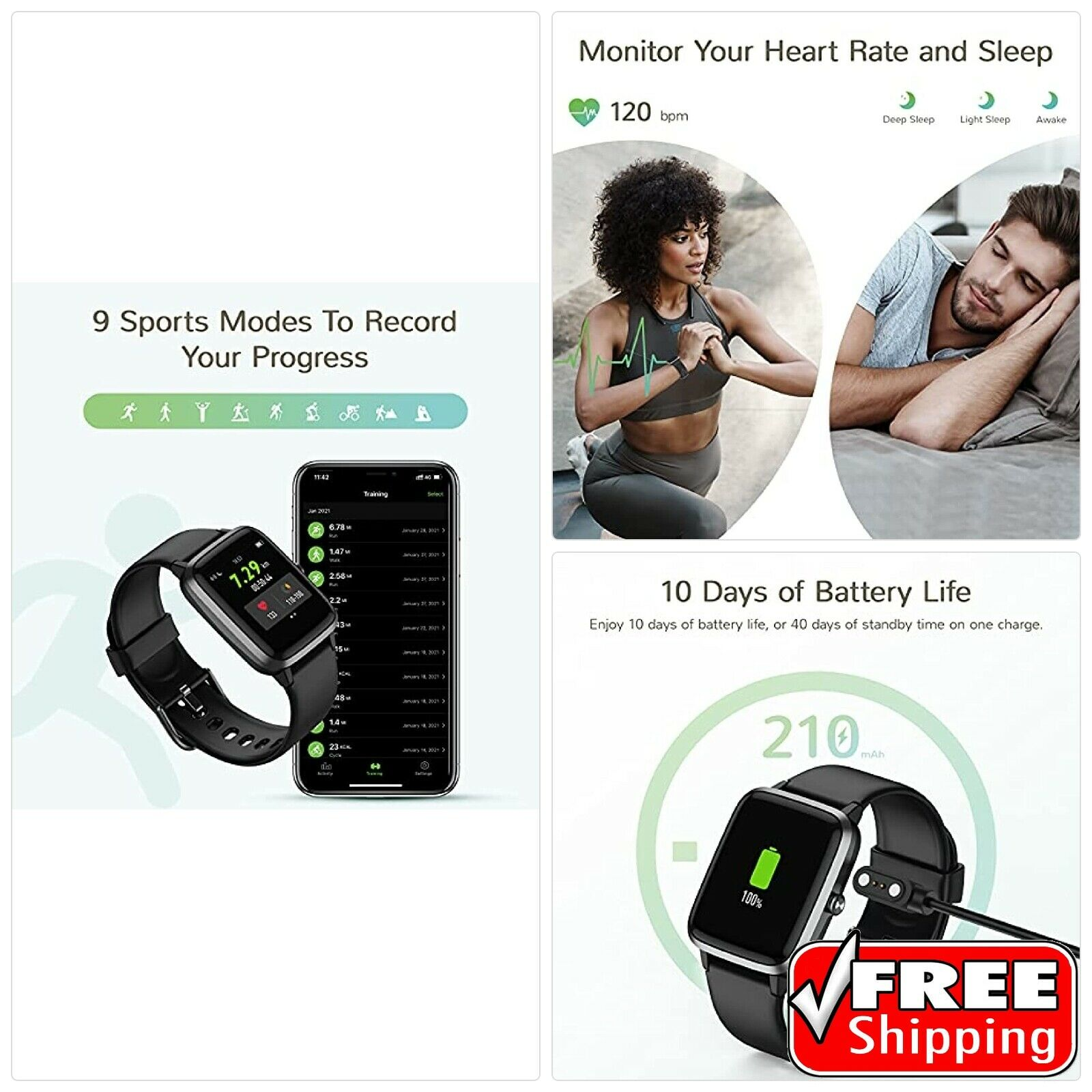 Letsfit Smart Watch, Fitness Tracker with Heart Rate Monitor, Activity Tracker w