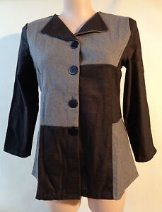EVERSUN-New-Black-amp-grey-button-front-top-size-16-NWT-long-sleeves