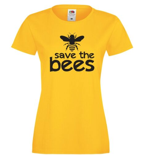 SIZES TO 3XL SAVE THE BEES T-SHIRT YELLOW COTTON NATURE MENS LADIES KIDS
