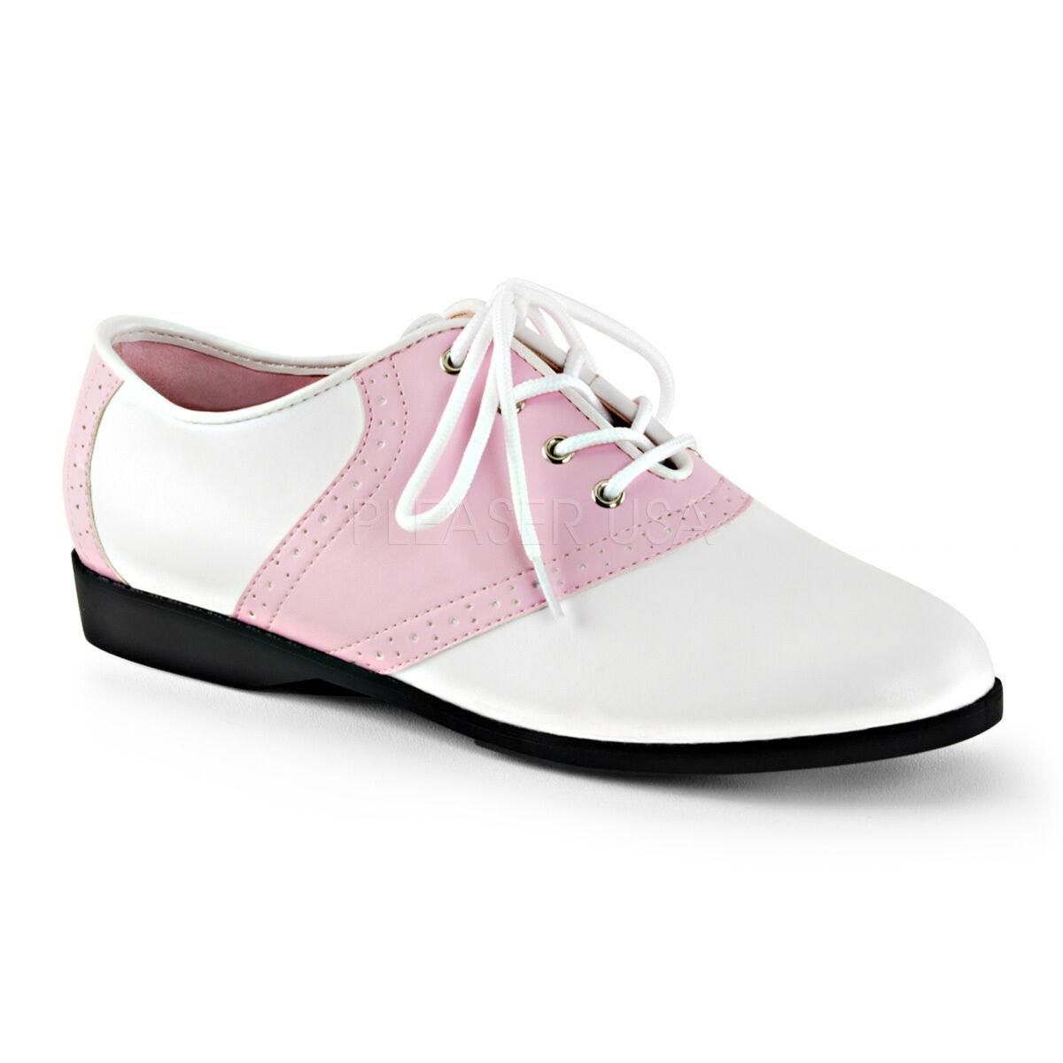 SAD50 BP-WPU Women's Baby Pink & White Retro 50's Halloween Costume Saddle shoes