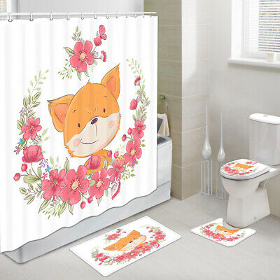 4pcs Kids Cute Fox Shower Curtains Sets With Toilet Cover Rugs Bath Mats Ebay