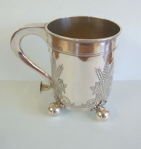 VICTORIAN-Solid-SILVER-Engraved-ARABLE-MUG-George-FOX-London-1869-c192g