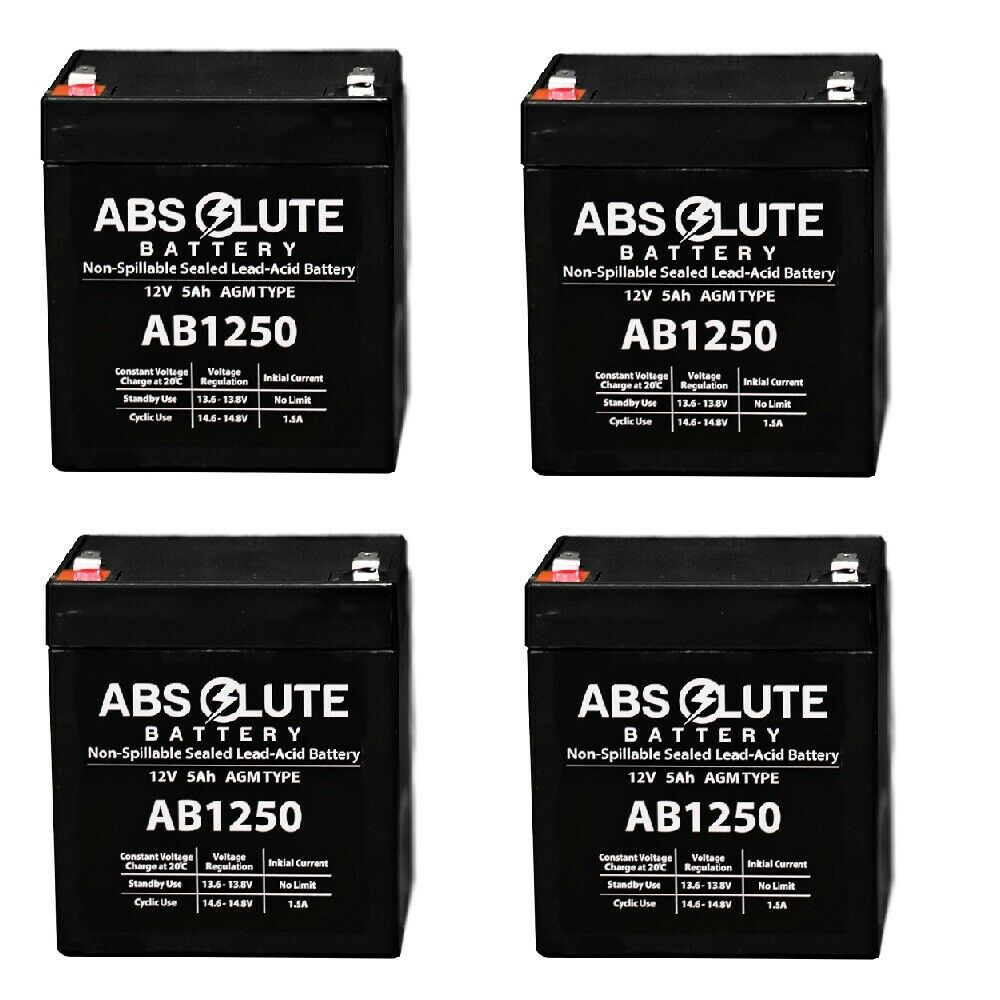 4 PACK NEW AB1250 12V 5AH SLA Replacement Battery for Belkin F6C150-RKM-2U UPS