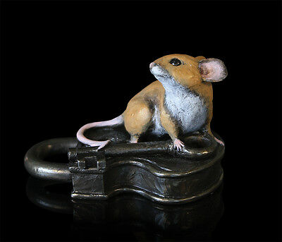 Mice Cold Cast Bronze Mouse on Ball of Twine Michael Simpson. Hand Painted