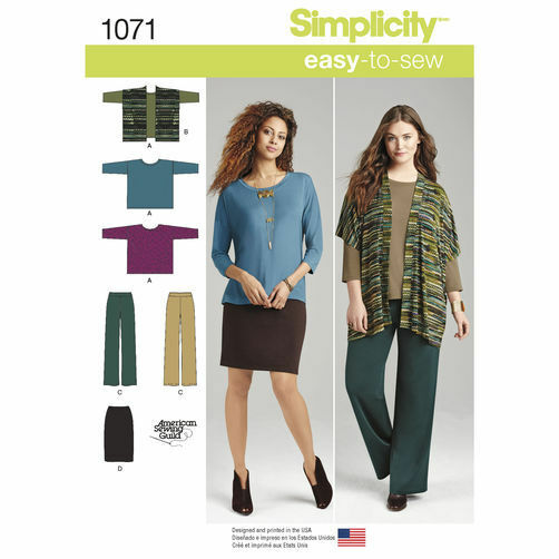S1071 Simplicity Sewing Pattern Easy Misses 4 26 Knit Skirt Pant