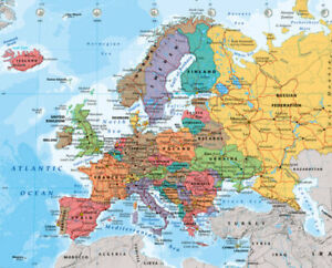 Political Map of Europe Educational Poster 20x16 inch