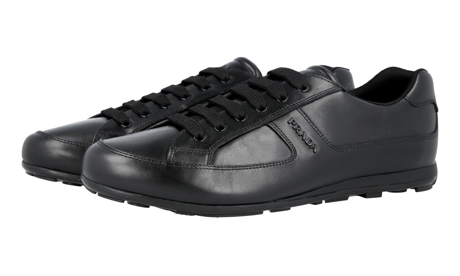 AUTH LUXURY PRADA SNEAKERS SHOES 4E3231 BLACK LEATHER NEW US 9 EU 42 42,5