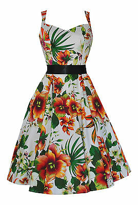 AnpassungsfäHig Ladies 40's 50's Retro Vintage Orchid Floral Full Circle Swing Dress New 8 - 26 Duftendes (In) Aroma