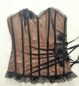 Pleasure-State-Couture-Harem-Black-Tulle-Corset-RRP-130-00-size-L