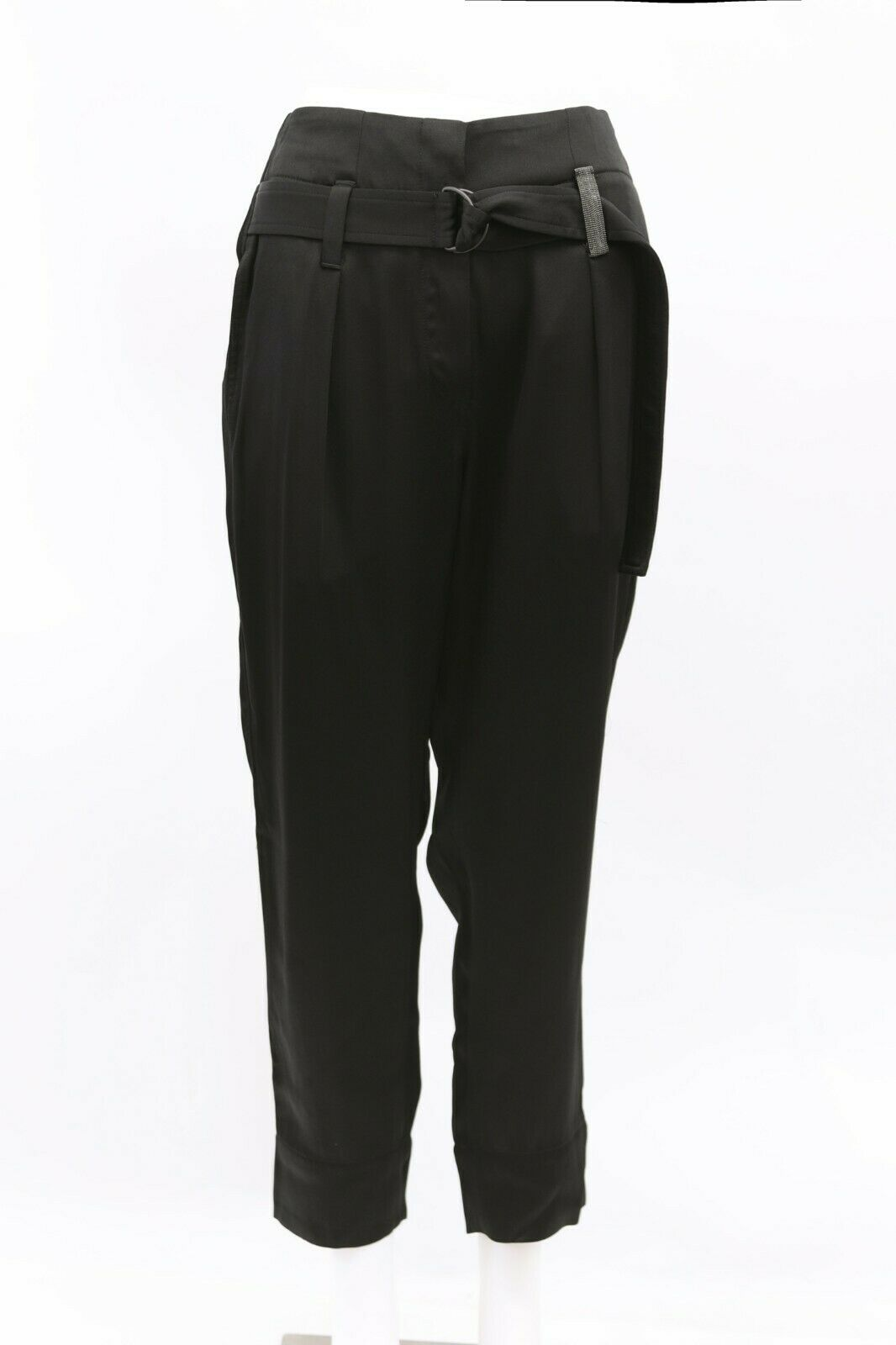 NWT 1425 Brunello Cucinelli damen Satin Bead Dress Pant W Cinch Belt 42 6US A186