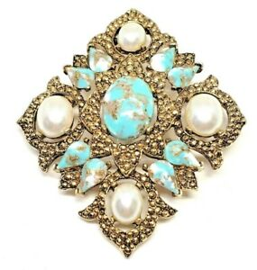 Signed-SARAH-COV-Vintage-Faux-Turquoise-Faux-Pearl-Brooch-Pin-Gold-Tone-Coventry