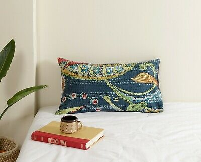 Indian Cotton Quilted Kantha Pillow Sham Couch Case Decorative Cushion Cover Art