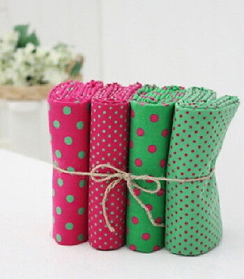 3 + 1 VINTAGE DOT GREEN PINK 4 PIECES QUILT CRAFT HOME DECO FABRIC 100% COTTON
