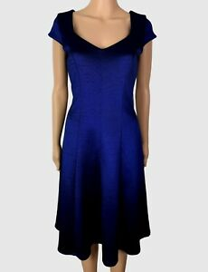 New-Ex-Jacques-Vert-Ladies-Blue-Fit-amp-Flare-Short-Sleeve-Party-Dress-Size-8-24