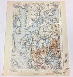 Maine Mount Desert Quadrangle Hancock County Topographical Map