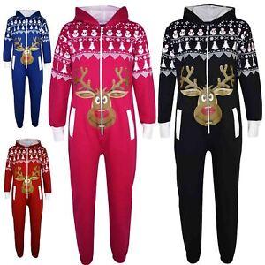 f3bf080aaf6e Kids Girls Boy Novelty Christmas Reindeer Fleece A2Z Onesie One ...