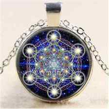 Sacred geometry MOON Cabochon Tibetan silver Glass Chain Pendant Necklace #4436