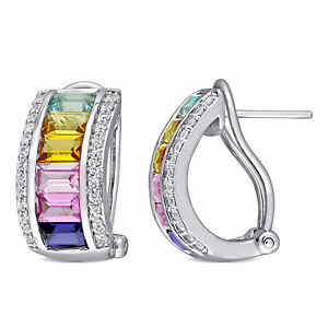 Amour-Sterling-Silver-4-1-4-CT-TGW-Multi-Color-Created-Sapphire-Hoop-Earrings