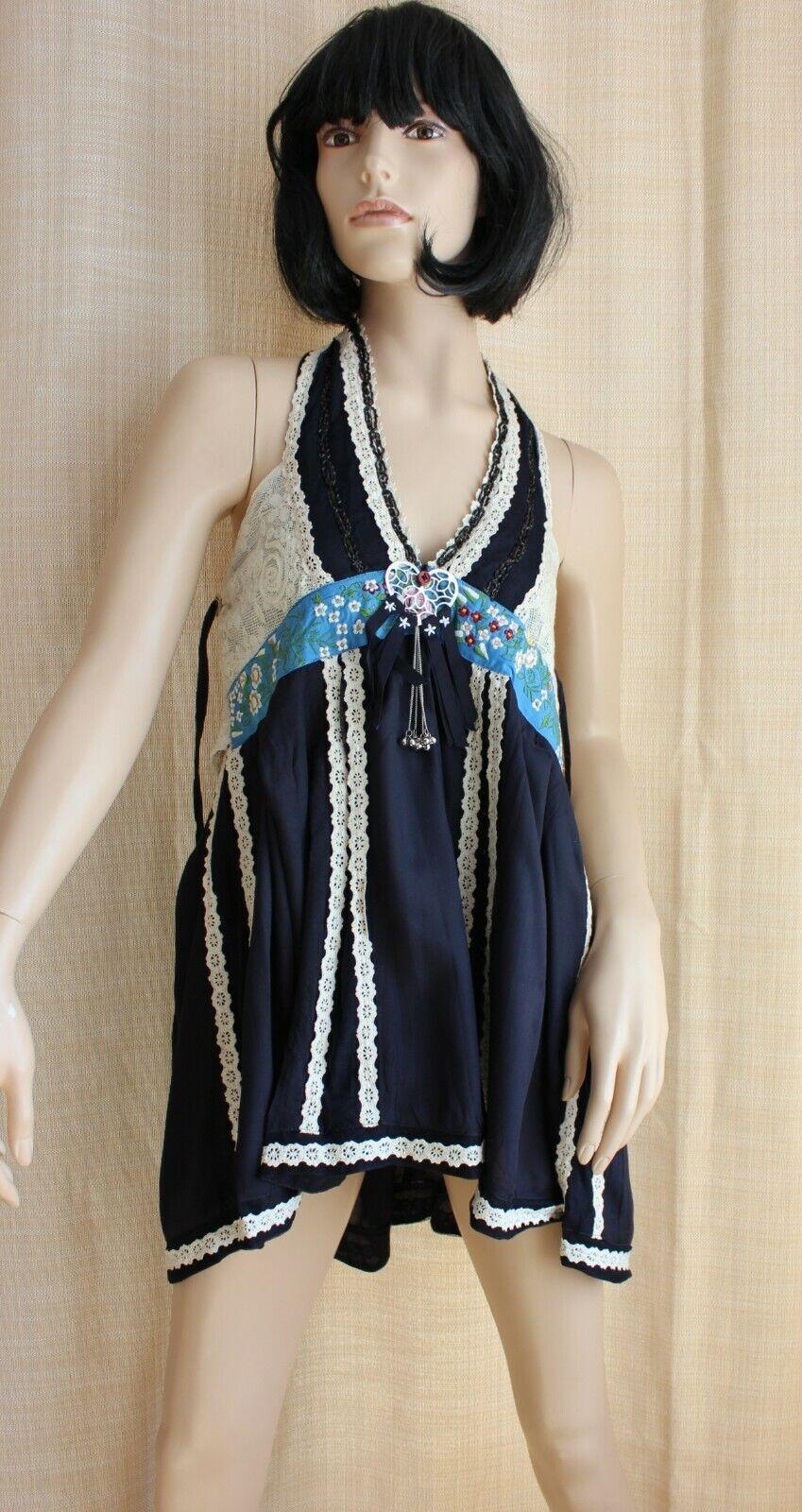 HIGH USE Sommer Kleid Top Halter Gr. 36 38 40  Ausgefallen Luxus