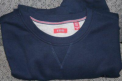 Mens IZOD L/S Sueded Fleece Pullover Sweatshirt Sweater - 2XL - Navy - NWOT