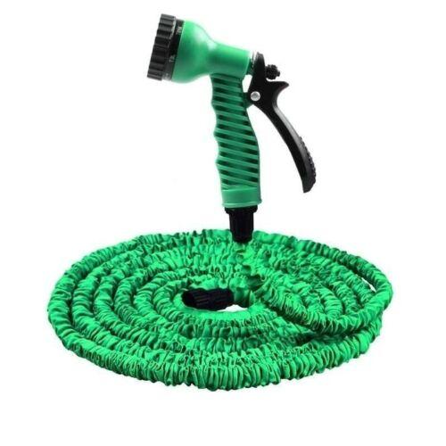 25FT-200FT Garden Expandable Flexible Hose Plastic Hoses Spray Gun To Watering