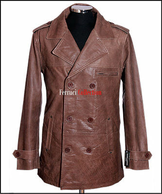 Harrison Vintage Brown Men's Smart Casual Double Breasted Cowhide Leather Jacket