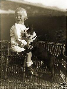 BOY & PET BOSTON TERRIER VINTAGE CANVAS DOG ART PRINT