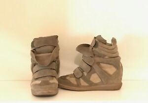Isabel-Marant-Bekett-Wedge-Women-039-s-Sneakers-Suede-Calfskin-Leather-Size-39