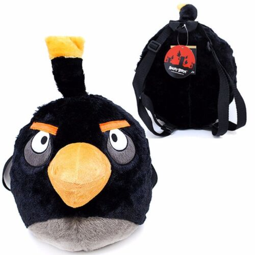 "Angry Bird Black Bird 14/"" Backpack Toy Plush Bag adjustable shoulder straps"
