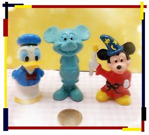 Vintage Disney Mickey Mouse Lot Of 3 Figurines Wizard Blue Donald Duck Hong Kong