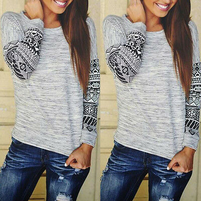 Women Crewneck Long Sleeve Print Pullover Outwear Jumper Casual Sweater Tops Tee