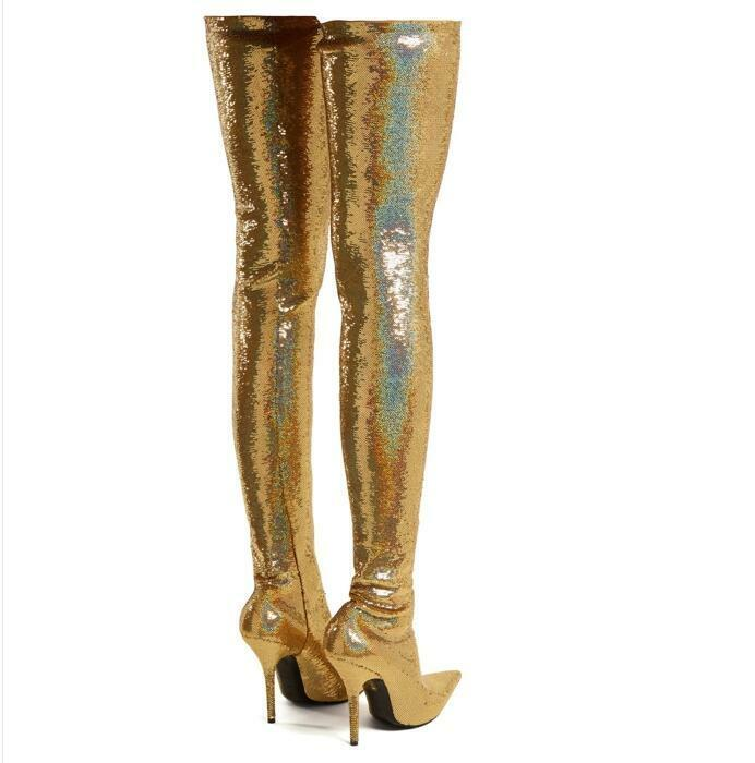 damen Gold Pointed Toe Thigh High Stiefel Stiefel Stiefel Stilettos High Heels Plus Sz Pull On U5 411d11