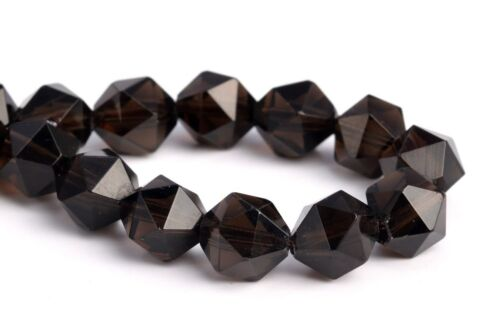 """7-8MM Coffee Smoky Quartz Star Cut Faceted Grade AAA Natural Loose Beads 7.5/"""""""